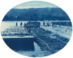 Construction of Rock and Brush Dam, L[ow]. W[ater].