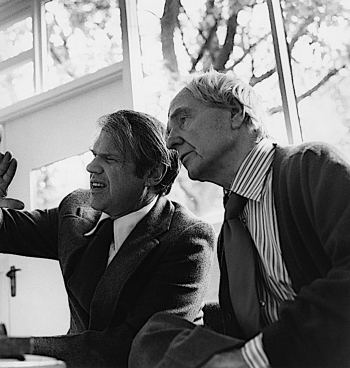 "Black-and-white photograph of David Finn (left) and Henry Moore choosing the photographs for the book ""Henry Moore: Sculpture and Environment"""