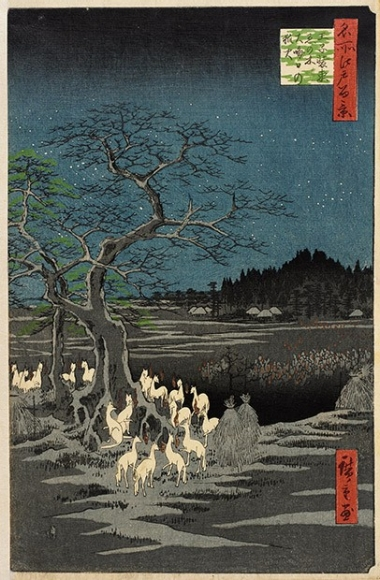 Utagawa Hiroshige, New Year's Eve Foxfires at the Changing Tree, Ōji, from the series One Hundred Famous Views of Edo, 1857