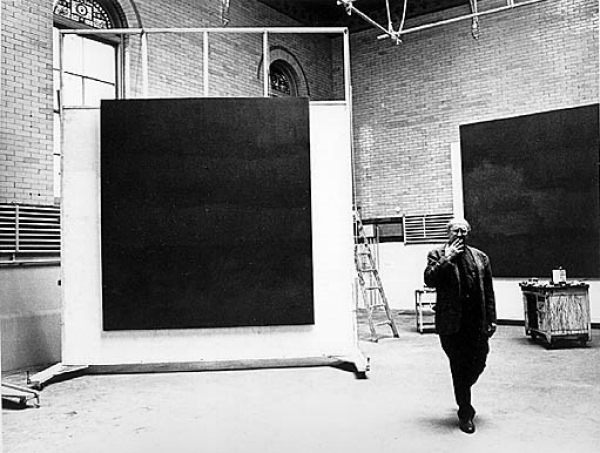 Rothko in his 69th Street studio with Rothko Chapel murals
