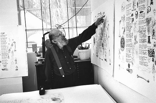 Allen Ginsberg during his proofing session at Gemini--in the artist studio, July 24, 1996