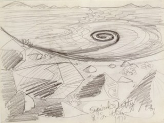 Robert Smithson, American, 1938-1973, Spiral Jetty, 1970 crayon on paper Collection of Virginia Dwan Photo: Joshua Nefsky