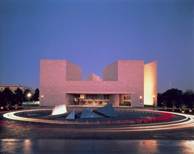 Designed by I. M. Pei, the East Building of the National Gallery of Art has a dramatic glow after dark due to its Tennessee pink marble, taken from the same quarries that provided stone for the West Building. Photo © Dennis Brack/Black Star. National Gallery of Art, Washington, Gallery Archives