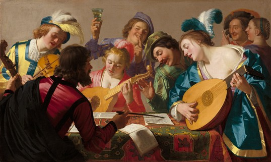 Gerrit van Honthorst Dutch, 1592 – 1656 The Concert, 1623 oil on canvas unframed: 123 × 206 cm (48 7/16 × 81 1/8 in.) National Gallery of Art, Washington Patrons' Permanent Fund and Florian Carr Fund 2013.38.1
