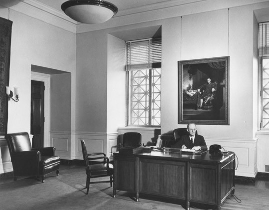 David Finley in his office at the National Gallery of Art. Finley was director of the National Gallery of Art from 1938-1956, and vice chairman of the Roberts Commission. National Gallery of Art, Washington, D.C., Gallery Archives