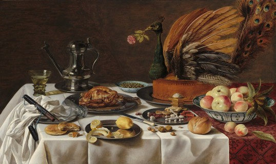 "Pieter Claesz  Dutch, 1596/1597 – 1660 ""Still Life with Peacock Pie,"" 1627 oil on panel 77.5 x 128.9 cm  National Gallery of Art, Washington, The Lee and Juliet Folger Fund"
