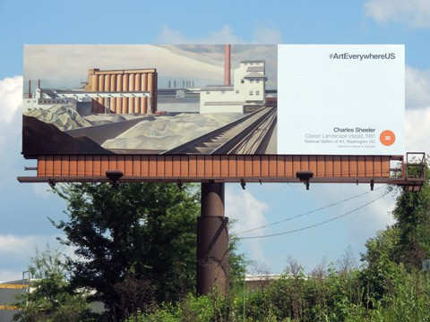 Charles Sheeler's Classic Landscape on a billboard in Columbia, South Carolina.