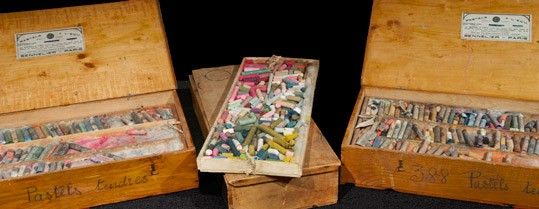 Pastel boxes originally owned by Mary Cassatt and recently acquired by the Art Materials Collection and Study Center at the National Gallery of Art.