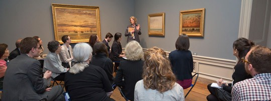Mary Morton, curator and head of French paintings, National Gallery of Art, makes a presentation to the participants of Stepping Outside the Artist's Studio: Landscape and the Oil Sketch, c. 1780-1830, the Robert H. Smith Colloquy held on May 12, 2014.
