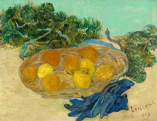 "Vincent van Gogh, ""Still Life of Oranges and Lemons with Blue Gloves, Arles,"" January 1889, oil on canvas, National Gallery of Art, Washington, Collection of Mr. and Mrs. Paul Mellon"