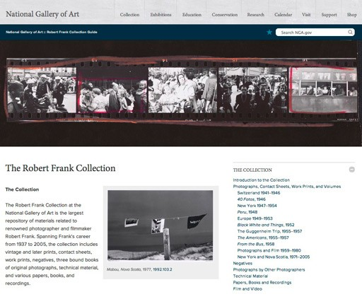 The homepage of the online Robert Frank Collection Guide Robert Frank Collection Guide, National Gallery of Art