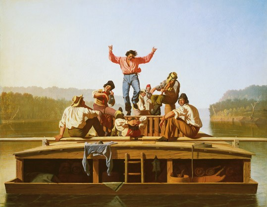 "George Caleb Bingham, American (1811 – 1879), ""The Jolly Flatboatmen, 1846"", oil on canvas, National Gallery of Art, Washington, Patrons' Permanent Fund. 2015.18.1"