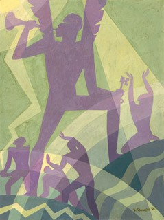 "Aaron Douglas, American, 1899 - 1979, ""The Judgment Day"", 1939. oil on tempered hardboard; overall: 121.92 × 91.44 cm (48 × 36 in.). National Gallery of Art, Washington. Patrons' Permanent Fund, The Avalon Fund. 2014.135.1"
