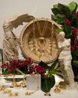 Ornate necklaces, bracelets and earrings in gold and muted tones compliment the exhibition Power and Pathos: Bronze Sculpture of the Hellenistic World © 2015, Rob Shelley, Courtesy of the National Gallery of Art, Washington