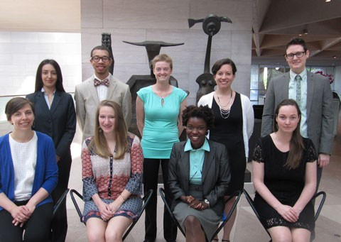 Back row: Nare G. Aleksanyan, Tyler Shine, Courtney Rookard, Jacinta Johnson and Lex Lancaster Front row: Julie Warchol, Taylor Heasley, Jessica Spencer and Catherine Williams