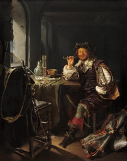 Frans van Mieris An Interior with a Soldier Smoking a Pipe, c.1665 oil on panel 32.4 x 25.4 cm (12 3/4 x 10 in.) National Gallery of Art, Washington The Lee and Juliet Folger Fund/The Folger Fund