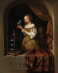 "Caspar Netscher, ""A Woman Feeding a Parrot, with a Page,"" 1666, oil on panell, National Gallery of Art, Washingotn, The Lee and Juliet Folger Fund"