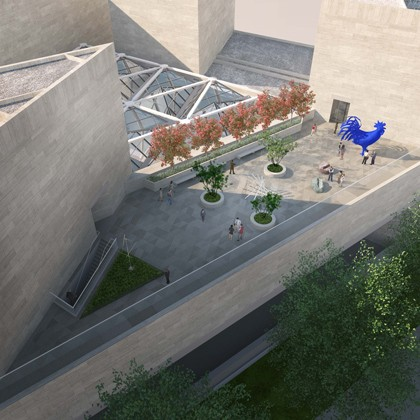 Rendering showing an aerial view of the new Sculpture Terrace of the National Gallery of Art East Building. Image by Hartman-Cox Architects