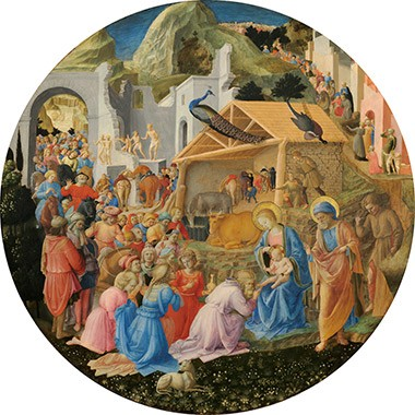 Fra Angelico and Filippo Lippi., The Adoration of the Magi, c. 1440/1460, topic of gallery talk The Christmas Story in Art, December 11, 13, 14, 16, 19, 21 and 23 at 1:00 p.m. Talks begin in the West Building Rotunda