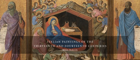 The home page banner of Italian Paintings of the Thirteenth and Fourteenth Centuries featuring a detail from Duccio di Buoninsegna's The Nativity with the Prophets Isaiah and Ezekiel, 1308–1311 (National Gallery of Art, Washington, Andrew W. Mellon Collection). NGA Online Editions, National Gallery of Art