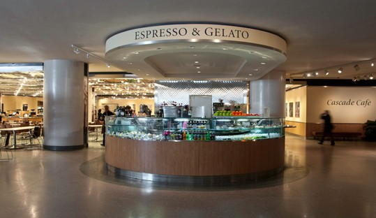 The Espresso and Gelato Bar at the National Gallery of Art, located on the Concourse level between the East and West Buildings.