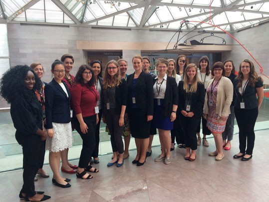 Participants in the National Gallery of Art's 2017 summer internship program. Front row, left to right: Adefolakunmi Adenugba, Jiete Li, Alyssa Bralower, Emma Cantrell, Katharina Ann Biermann, Sarah Reiff Conell, Maureen O'Connor, Amy Lewis Castine, and Carly Wooten Back row, left to right: Lauren Graves, Lizzie Brevard, Danielle Abdon Guimaraes, Sarah E. Almond, Sarah Leonard, Kelsey D. Martin, Allison Cheffer, Kirsten Derks, and Charline Fournier Petit
