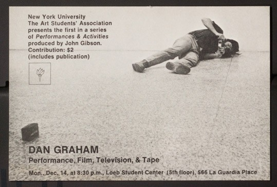 New York University, Dan Graham: Performance, Film, Television, & Tape, invitation, New York, New York, 1970, National Gallery of Art Library, Vertical Files, Vogel Collection