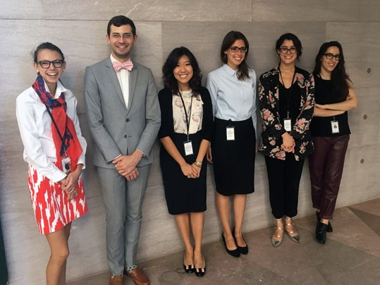 Participants in the National Gallery of Art's 2017–2018 internship program. From left to right: Olivia Armandroff, Jamie Gabbarelli, Adela Kim, Joanna Strombek, Nina Goodall, and Julia Vazquez