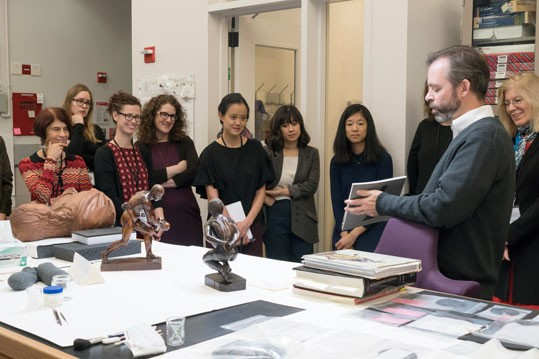 CASVA members tour the Gallery's objects conservation lab with Dylan T. Smith, Robert H. Smith Research Conservator, National Gallery of Art, November 2017