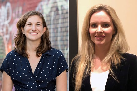 Left: Diana Greenwald, a 2017–2019 Andrew W. Mellon Postdoctoral Curatorial Fellow, will conduct research on American and British paintings as well as the work of self-taught artist James Castle.; right: Kara Fiedorek, a 2017–2019 Andrew W. Mellon Postdoctoral Curatorial Fellow, will assist the department of photographs with exhibitions and research on the Gallery's collection of postwar British photography.