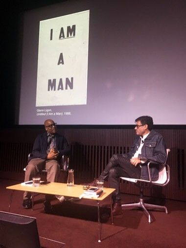 Gregg Bordowitz in conversation with Glenn Ligon at a previous Gallery program. The two will discuss Bordowitz's book Glenn Ligon: Untitled (I Am a Man) on September 30 at 2:00. A book signing follows.