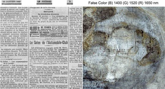 Infrared false color image of newspaper, John Delaney, National Gallery of Art, Washington, Keiko Imai, Pola Museum of Art. Source gallica.bnf.fr/BnF