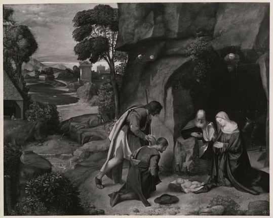 Unknown British photographer, Photo of Giorgione's The Adoration of the Shepherds (1505/1510) while in the collection of Lord Allendale, gelatin silver print, 1935. Department of Image Collections, National Gallery of Art Library