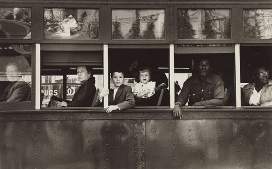 "RobRobert Frank, ""Trolley—New Orleans, The Americans"", plate 18 (portfolio), 1955, gelatin silver print, National Gallery of Art, Gift of Maria and Lee Friedlander, © Robert Frank, from ""The Americans.ert Frank, ""Trolley–New Orleans, The Americans"", plate 18 (portfolio), 1955; gelatin silver print, sheet: 21 x 31.6 cm (8 1/4 x 12 7/16 in.); Gift of Maria and Lee Friedlander. National Gallery of Art. © Robert Frank, from The Americans"""
