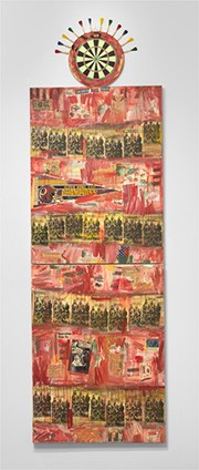 Jaune Quick-to-See Smith, I See Red: Target, 1992, mixed media on canvas, overall (three parts): 340.4 x 106.7 cm (134 x 42 in.). National Gallery of Art, Washington. Purchased with funds from Emily and Mitchell Rales 2020.6.1