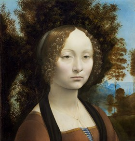 Leonardo da Vinci, Florentine, 1452 - 1519 Ginevra de' Benci [obverse], c. 1474/1478 oil on panel overall (original panel only): 38.1 x 37 cm (15 x 14 9/16 in.) overall (thickness of original panel): 1.1 cm (7/16 in.) overall (with addition at bottom edge): 42.7 x 37 cm (16 13/16 x 14 9/16 in.) overall (thickness of addition at bottom edge): 1.9 cm (3/4 in.) framed: 59.7 x 57.8 x 3.8 cm (23 1/2 x 22 3/4 x 1 1/2 in.) Ailsa Mellon Bruce Fund 1967.6.1.a