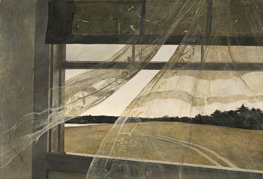 "Andrew Wyeth ""Wind from the Sea"", 1947 tempera on hardboard overall: 47 x 70 cm (18 1/2 x 27 9/16 in.) framed: 66.4 x 89.5 x 7 cm (26 1/8 x 35 1/4 x 2 3/4 in.) Gift of Charles H. Morgan"