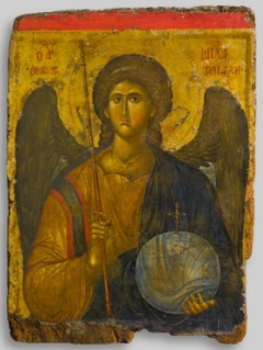 Icon of the archangel Michael first half of 14th century tempera and gold on wood overall: 110 x 80 cm (43 5/16 x 31 1/2 in.) Byzantine and Christian Museum, Athens, Gift of a Greek of Istanbul, 1958