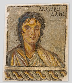"Unknown Artist, ""Portrait of Alcibiades"", late 3rd - early 4th century mosaic overall size: 90.5 110 3.5 cm (35 5/8 43 5/16 1 3/8 in.) Archaeological Museum, Sparta"