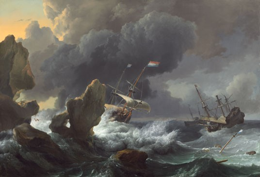 "Ludolf Backhuysen, ""Ships in Distress off a Rocky Coast"", 1667, oil on canvas, National Gallery of Art, Ailsa Mellon Bruce Fund"