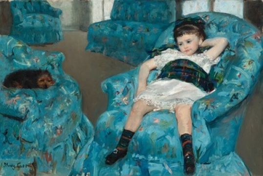 Mary Cassatt Little Girl in a Blue Armchair, 1878 oil on canvas overall: 89.5 x 129.8 cm (35 1/4 x 51 1/8 in.) framed: 114.3 x 154.3 x 5.7 cm (45 x 60 3/4 x 2 1/4 in.) National Gallery of Art, Washington, Collection of Mr. and Mrs. Paul Mellon