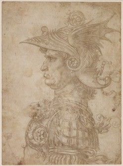 Leonardo da Vinci A Bust of a Warrior, c. 1475/1480 silverpoint on cream prepared paper sheet: 28.7 21.1 cm (11 5/16 8 5/16 in.) On loan from The British Museum, London © The Trustees of The British Museum, London