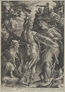 "Jan Muller, after Bartholomaeus Spranger, ""Minerva and Mercury Arming Perseus,"" 1604, engraving, National Gallery of Art, Washington, Gift of Ruth Cole Kainen"