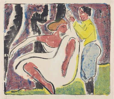 "Ernst Ludwig Kirchner ""Russian Dancers (Russisches Tänzerpaar)"", 1909, lithograph in red, blue, yellow, and black on wove paper, overall: 42.3 x 49.6 cm (16 5/8 x 19 1/2 in.), Ruth and Jacob Kainen Collection"