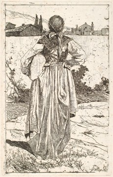 Giovanni Fattori Woman of the Gabbro [Donna al gabbro], 1886-1887 etching on wove paper sheet: 52 35 cm (20 1/2 13 3/4 in.) plate: 34 21.4 cm (13 3/8 8 7/16 in.) The Ahmanson Foundation