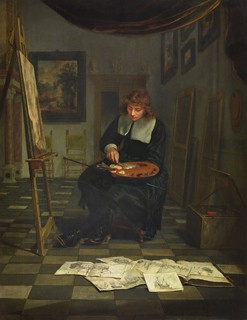 Michiel van Musscher An Artist in His Studio with His Drawings, mid-1660s oil on panel 47 36 cm (18 1/2 14 3/16 in.) Liechtenstein. The Princely Collections, Vaduz-Vienna