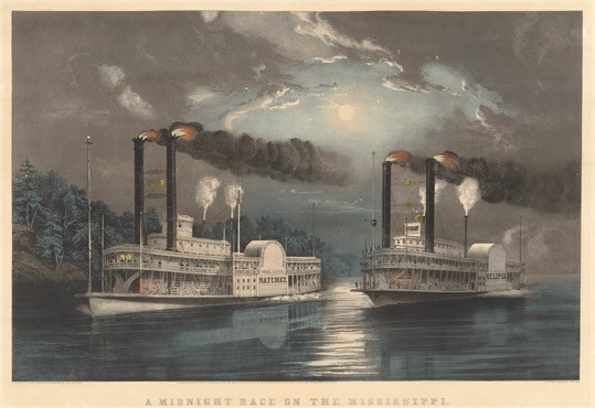 Frances Flora Bond Palmer A Midnight Race on the Mississippi, 1860 color lithograph with hand-coloring on wove paper National Gallery of Art, Washington, Donald and Nancy de Laski Fund