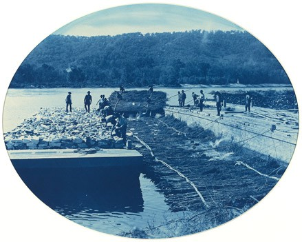 Henry Peter Bosse, 'Construction of Rock and Brush Dam, L.W.', 1891 cyanotype National Gallery of Art, Washington, Gift of Mary and Dan Solomon