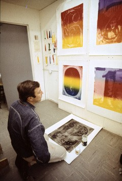 Jasper Johns proofing Color Numerals at Gemini G.E.L. Photograph by Malcolm Lubliner