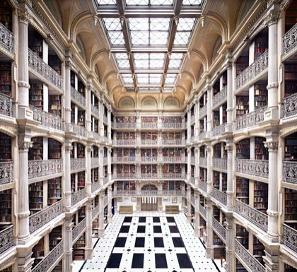 Candida Höfer, George Peabody Library Baltimore, 2010 chromogenic print Promised Gift from the Collection of Robert E. Meyerhoff and Rheda Becker